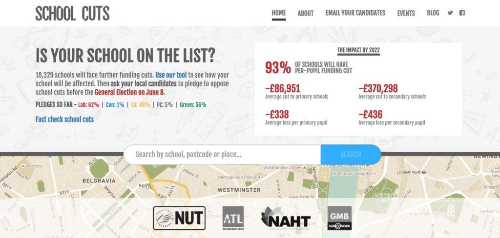 School Cuts's data-driven homepage