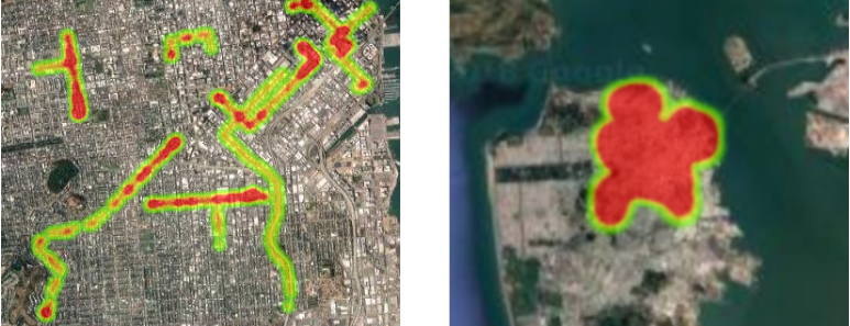 The Google Maps heatmap at two zoom levels. Left: near; right: far.