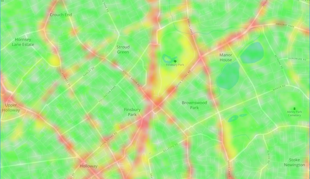 Mapbox heatmap showing sampled data.