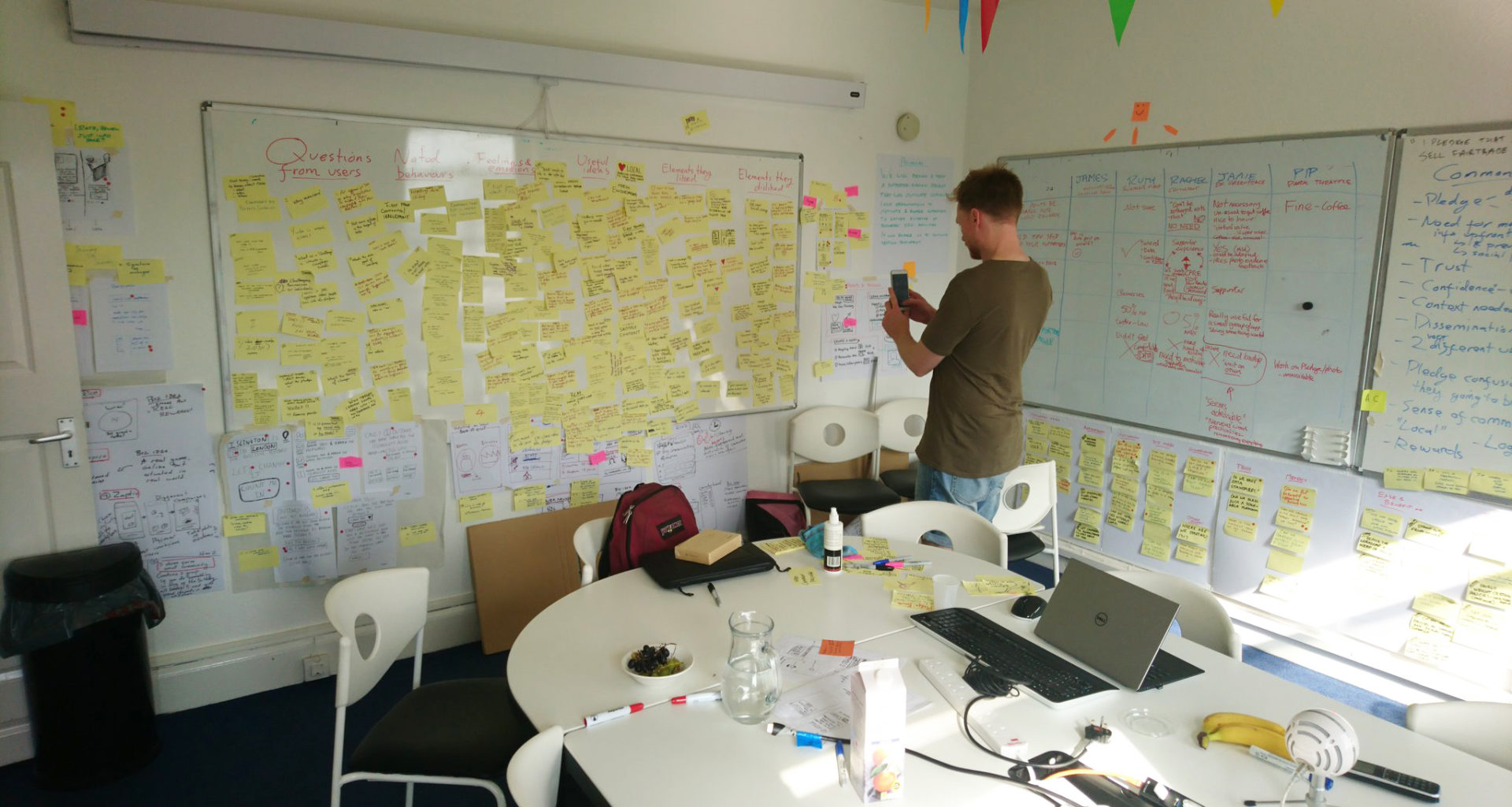 Taking photographs of a whiteboard covered with user testing post-it notes.