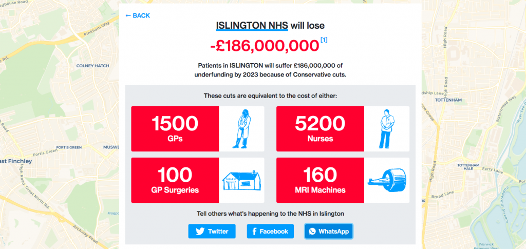 Islington stats on NHS cuts
