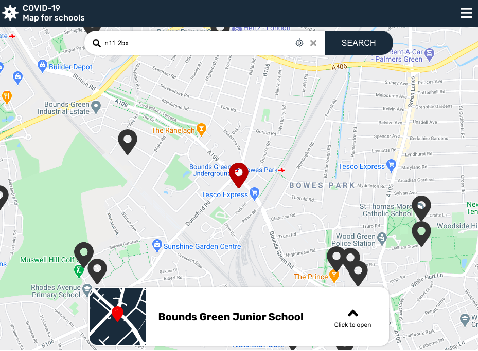 screengrab of covid app for school map view